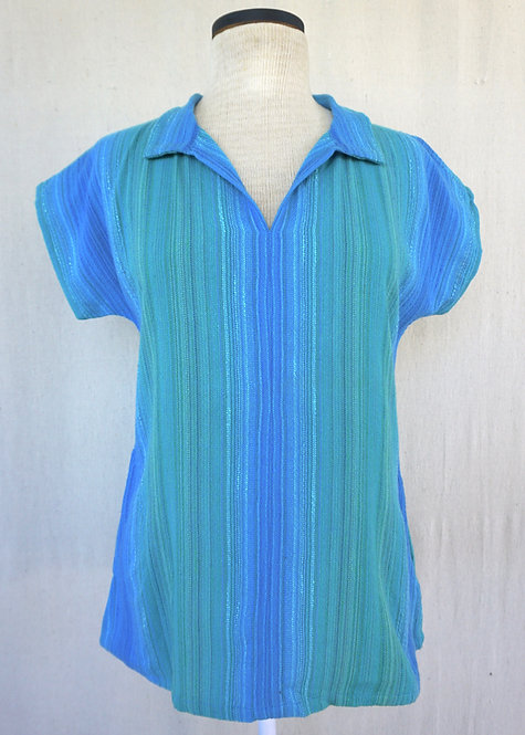 Turquoise Delight | Collared Shirt with Pockets