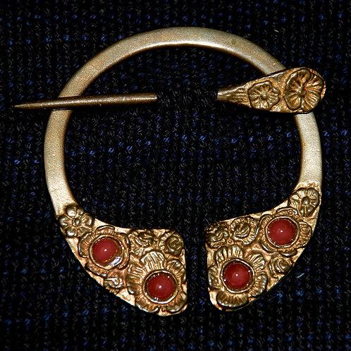 Handmade Bronze Floral Penannular Brooch Amber