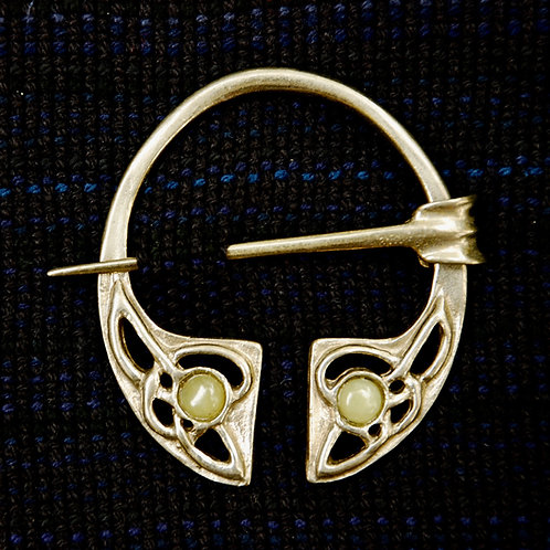 Handmade Celtic Bronze Penannular Brooch Olive Opal
