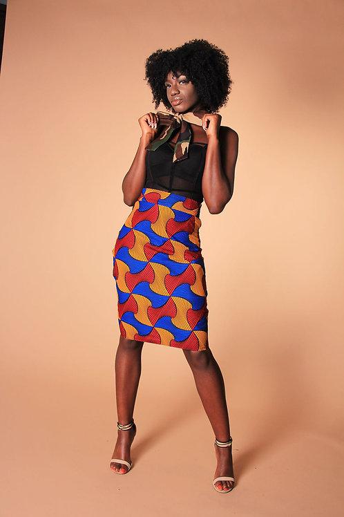 Afro-Camo High-Waist Skirt