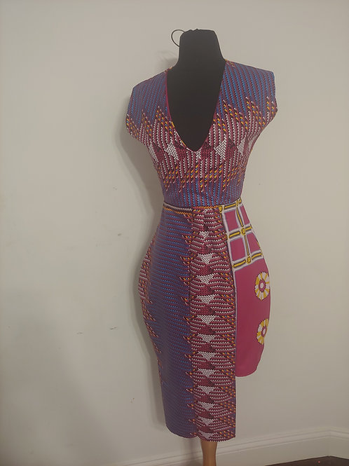 Mujaji Pattern Block Asymmetrical Dress