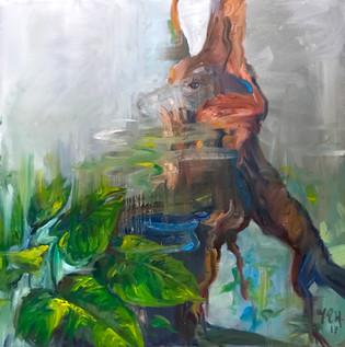 "36"" x 36"", oil on canvas"