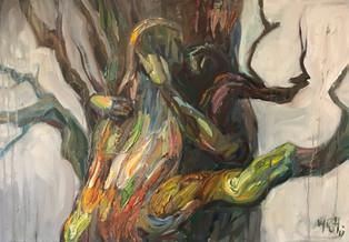 "40"" x 28"", oil on canvas"