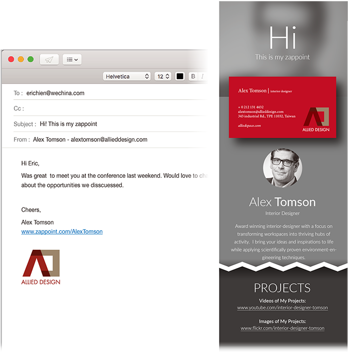 One click from your email signature reveals your personal marketing profile
