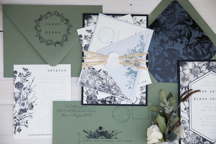 rustic romance invite and wax seal
