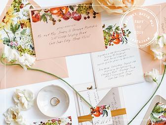 waterclor peach invitation suite