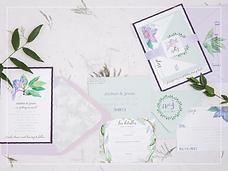 purple and green watercolor invitation