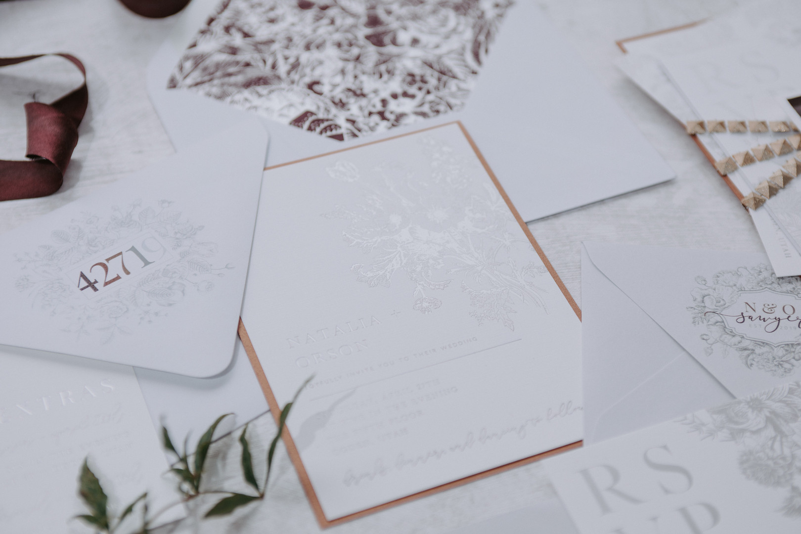 foil stamped wedding suite