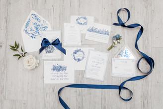 foil stamped floral invitation suite