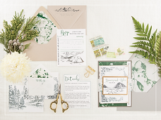 skeched mountain invitation
