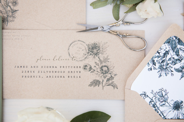 rustic romance save the date envelope