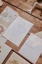 tropical foil stamped invitation