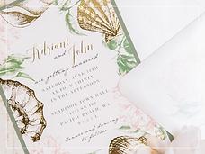 foil stamped seashell invitation