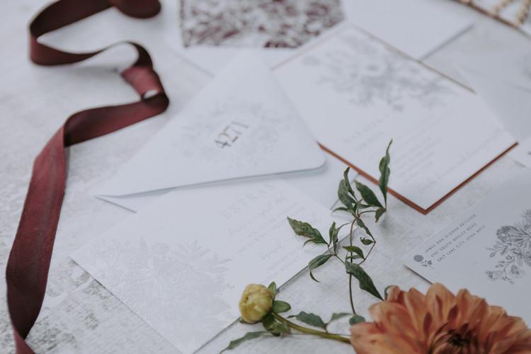 foil stamped wedding suite