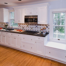 A window seat in the kitchen.