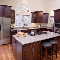 Rich dark cabinets are always in style.