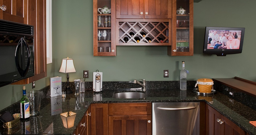 What's a wet bar without a dishwasher & microwave?