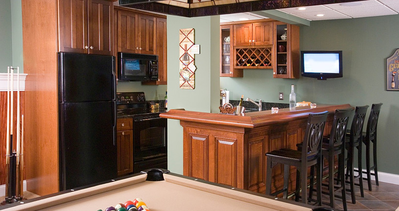Wet bar for the game room.