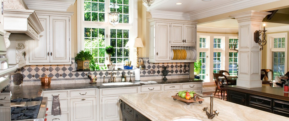An interesting mix makes this kitchen so inviting!