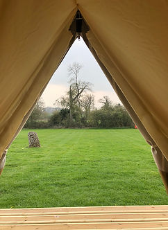 View from one of the bell tents