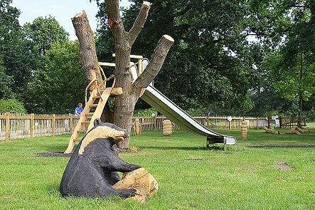 Thornham Walks Playground in suffolk with a slide