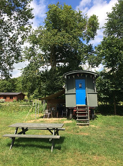 suffolk glamping hay cart/shephards hut on swattesfield campsite