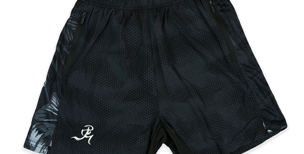 """RNG 2-in-1 shorts- (5"""") Camo Black w/ Pockets"""