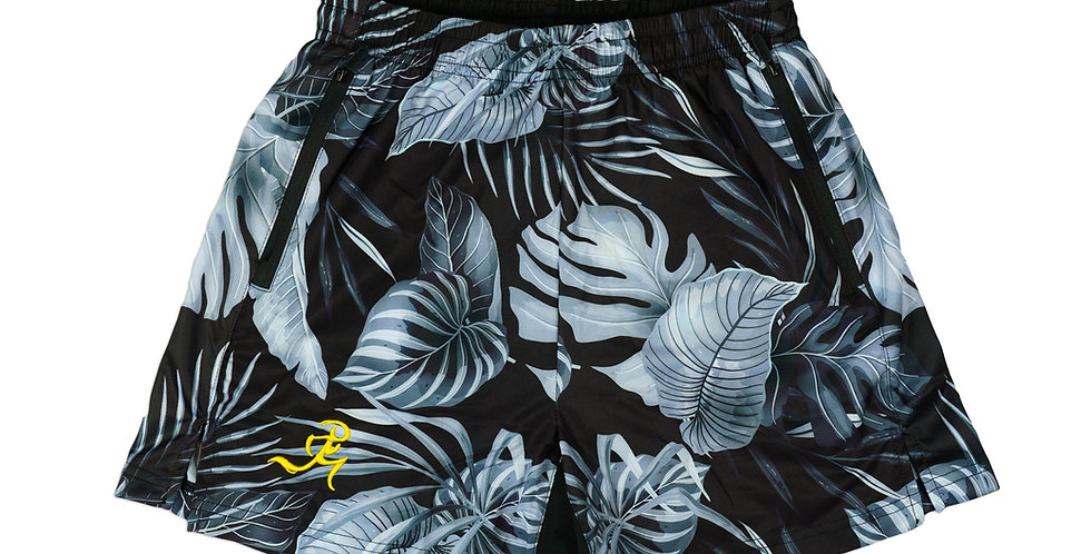 """RNG 2-in-1 shorts- (5"""") Black Floral w/ Pockets"""
