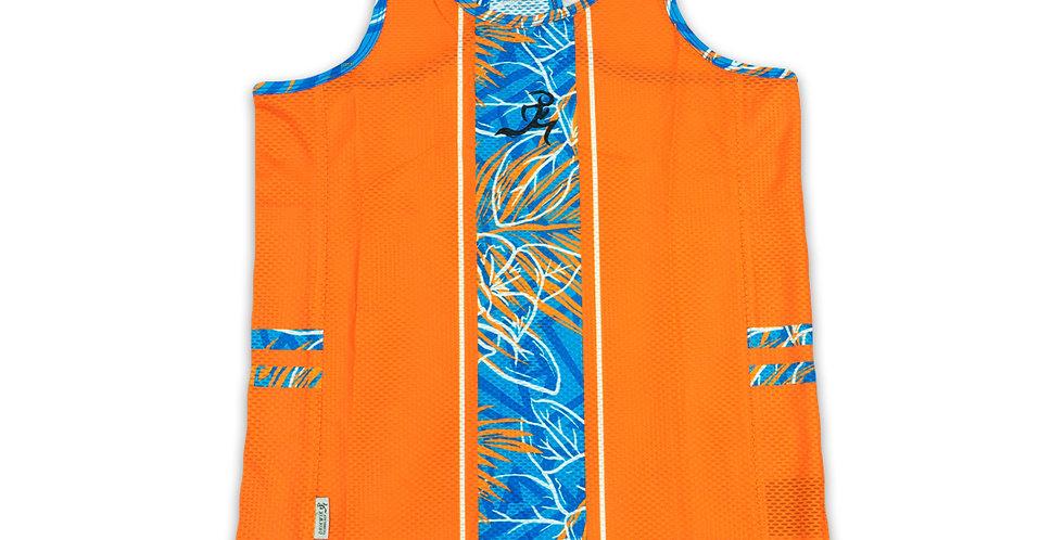 RNG Stretch Singlet- Spondylus Orange/Blue - Women's