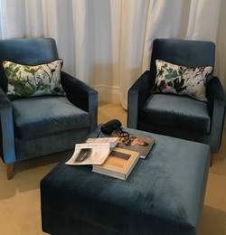reupholstered armchairs and cushions