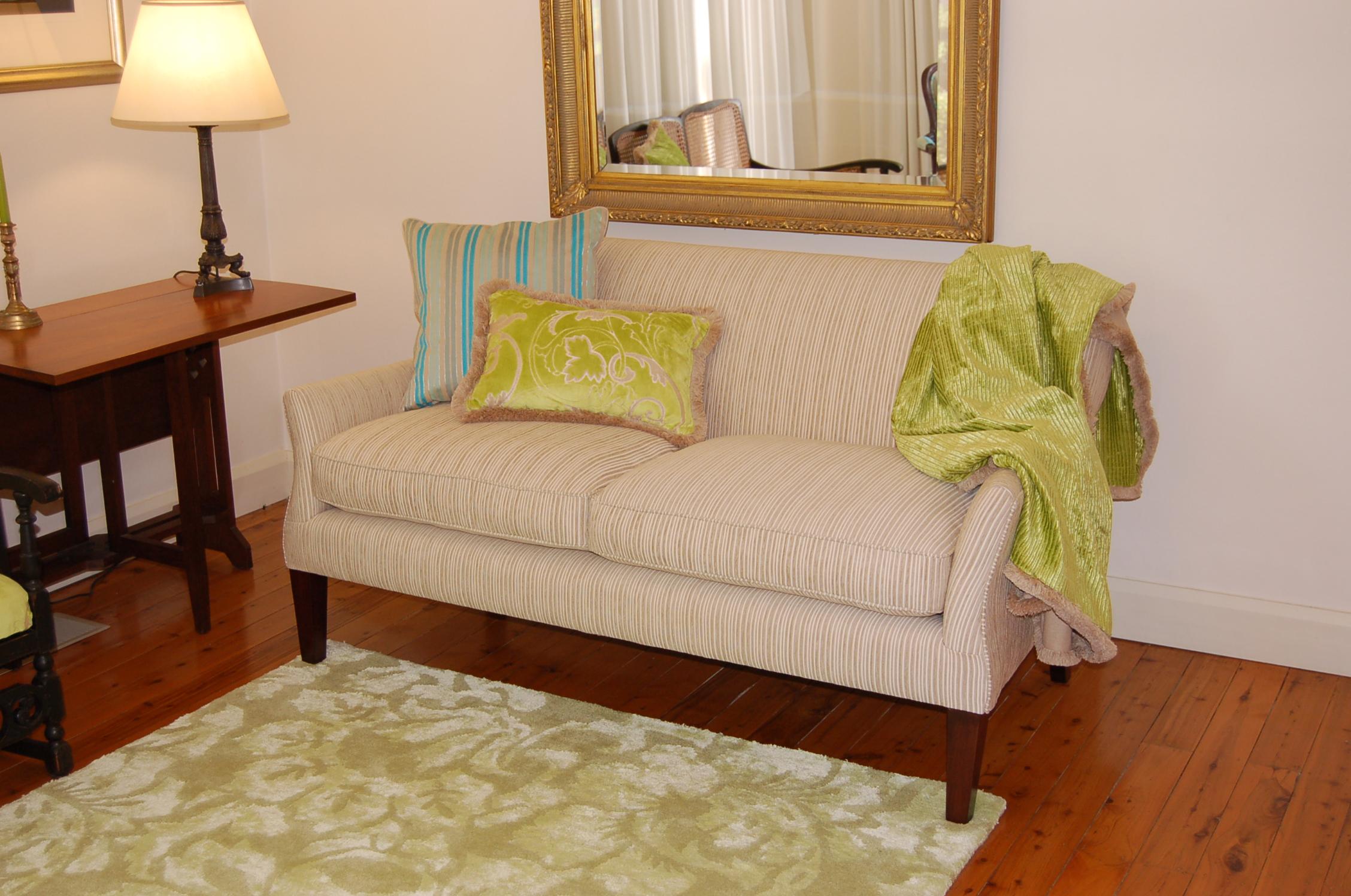 custom cushions and matching throw