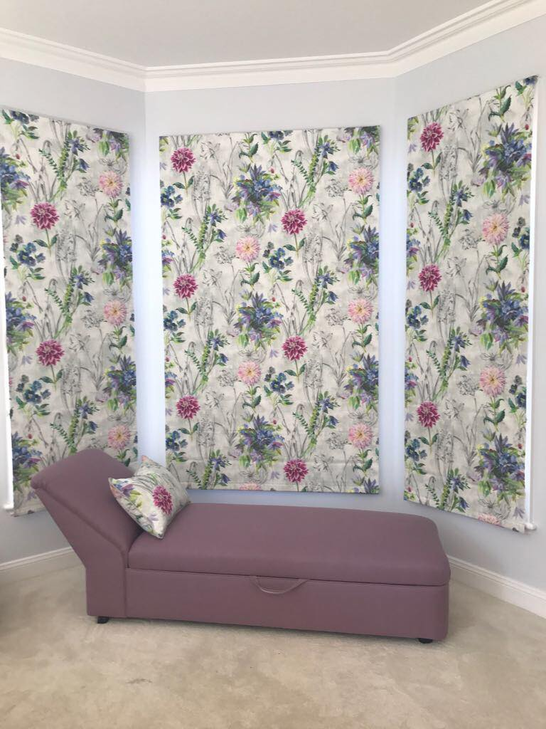 custom roman blinds and chaise