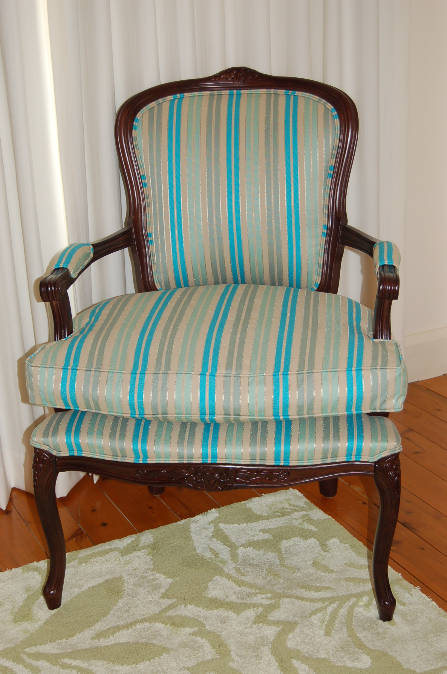 chair reupholstered stripe fabric