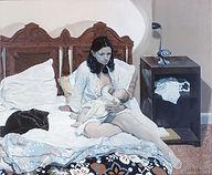 """""""Joshua Nursing"""" 42x50 acrylic 1974"""