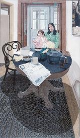 """Francesca at Breakfast"" 74x44 acrylic 1973"