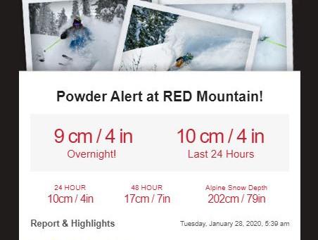 POWDER ALERT at Red!