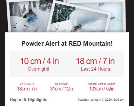 SNOW ALERT - Red Mountain Resort
