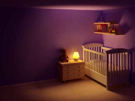 nursery, dark room, healthy room environment for baby, baby nursery