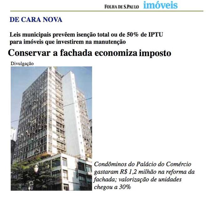Conservar a fachada economiza imposto
