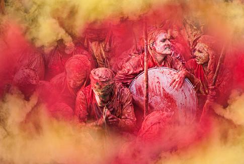 Le rythme de Holi. Nandgaon. Indes 2014
