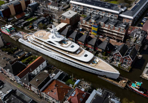 Superyachts Squeeze Down Dutch Canal