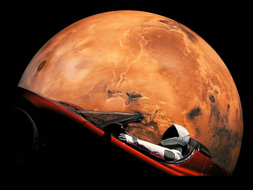 Car Flies Past Mars