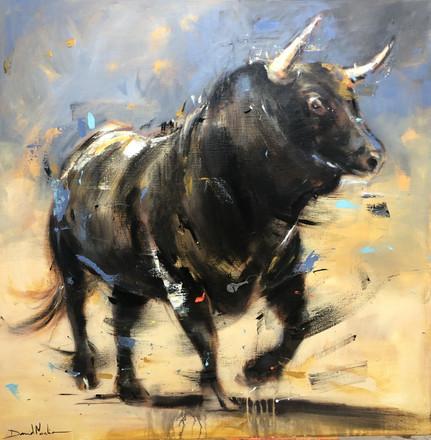 BULL IV, acrylic over canvas. (100x100cm)