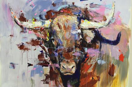 BULL VIII, acrylic over canvas. (100x80cm)