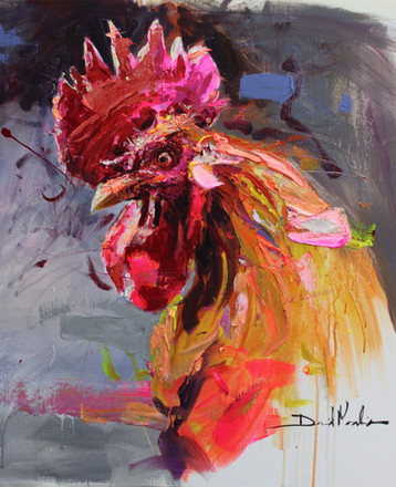 ROOSTER I, acrylic over canvas. (80x80cm)