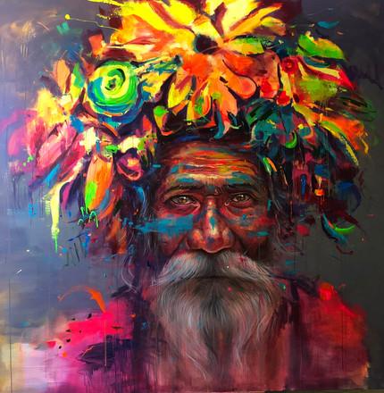 HUM XVII, acrylic on canvas. (200x200cm)