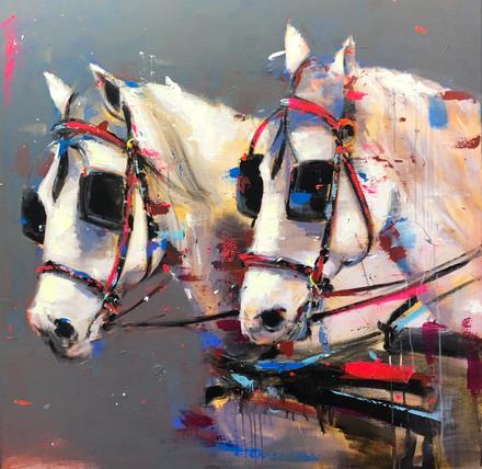 TIRO I, acrylic over canvas. (100x100cm)