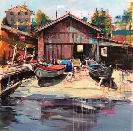 BOAT II, acrylic over canvas. (100x100cm)