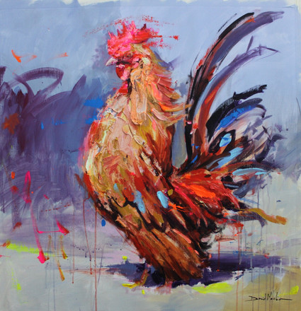 ROOSTER II, acrylic over canvas.  (80x100cm)
