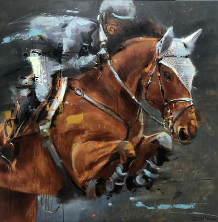 JUMP I, acrylic over canvas. (120x120)